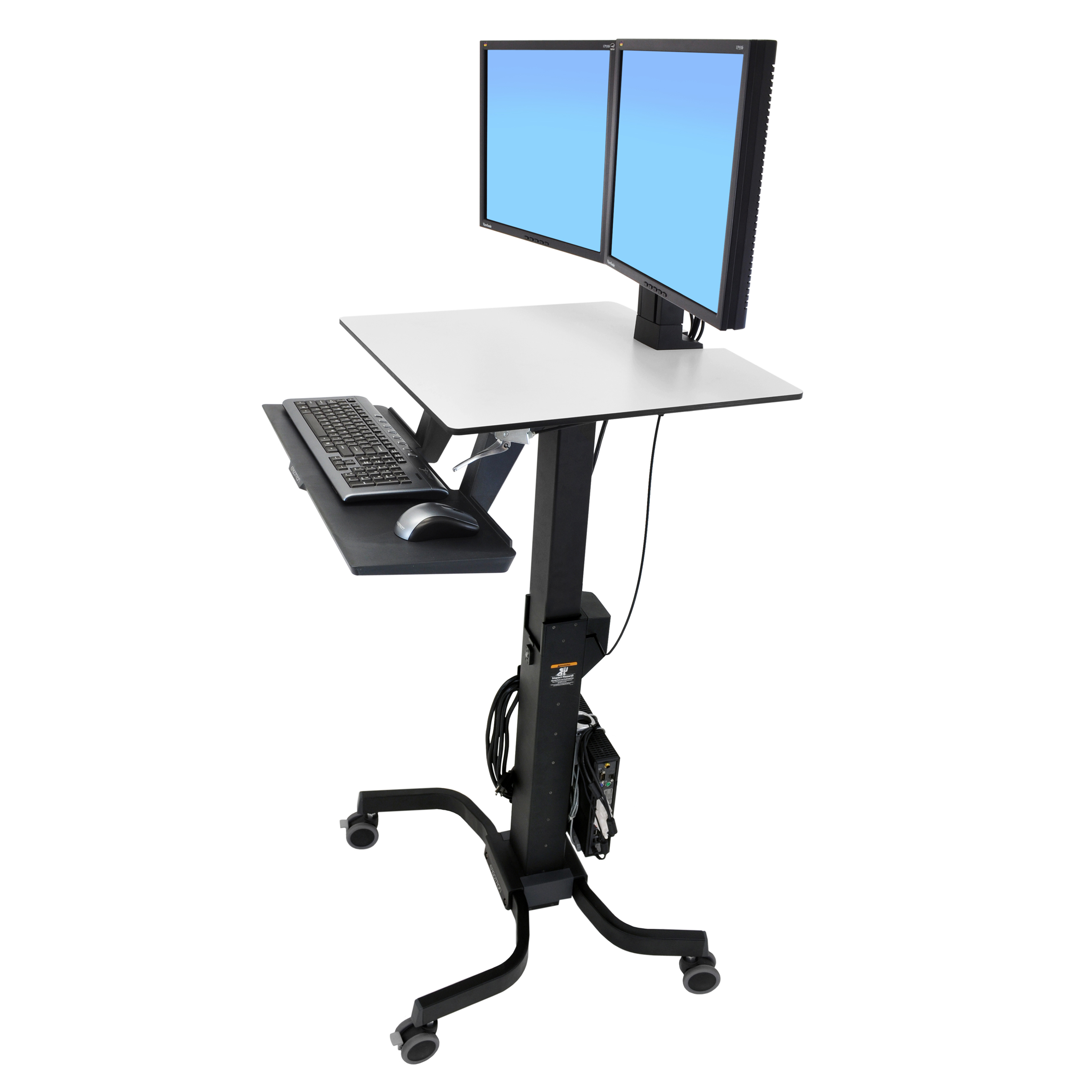 Workfit C Dual Monitor Computer Cart Standing Mobile Desk Ergotron
