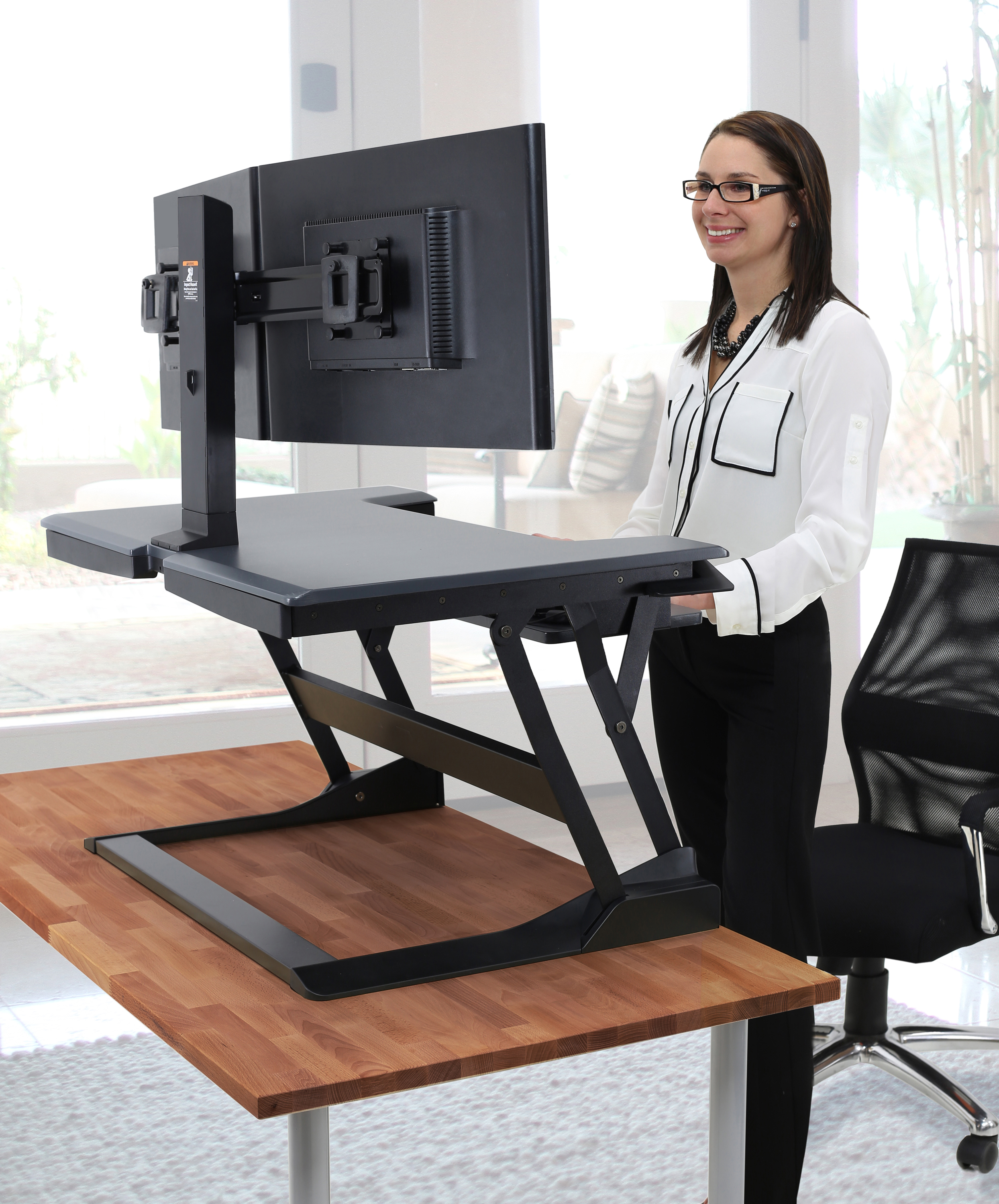 workstation bundle dual store dualmount desk t ergotron wft online plus monitor mount standing workfit black