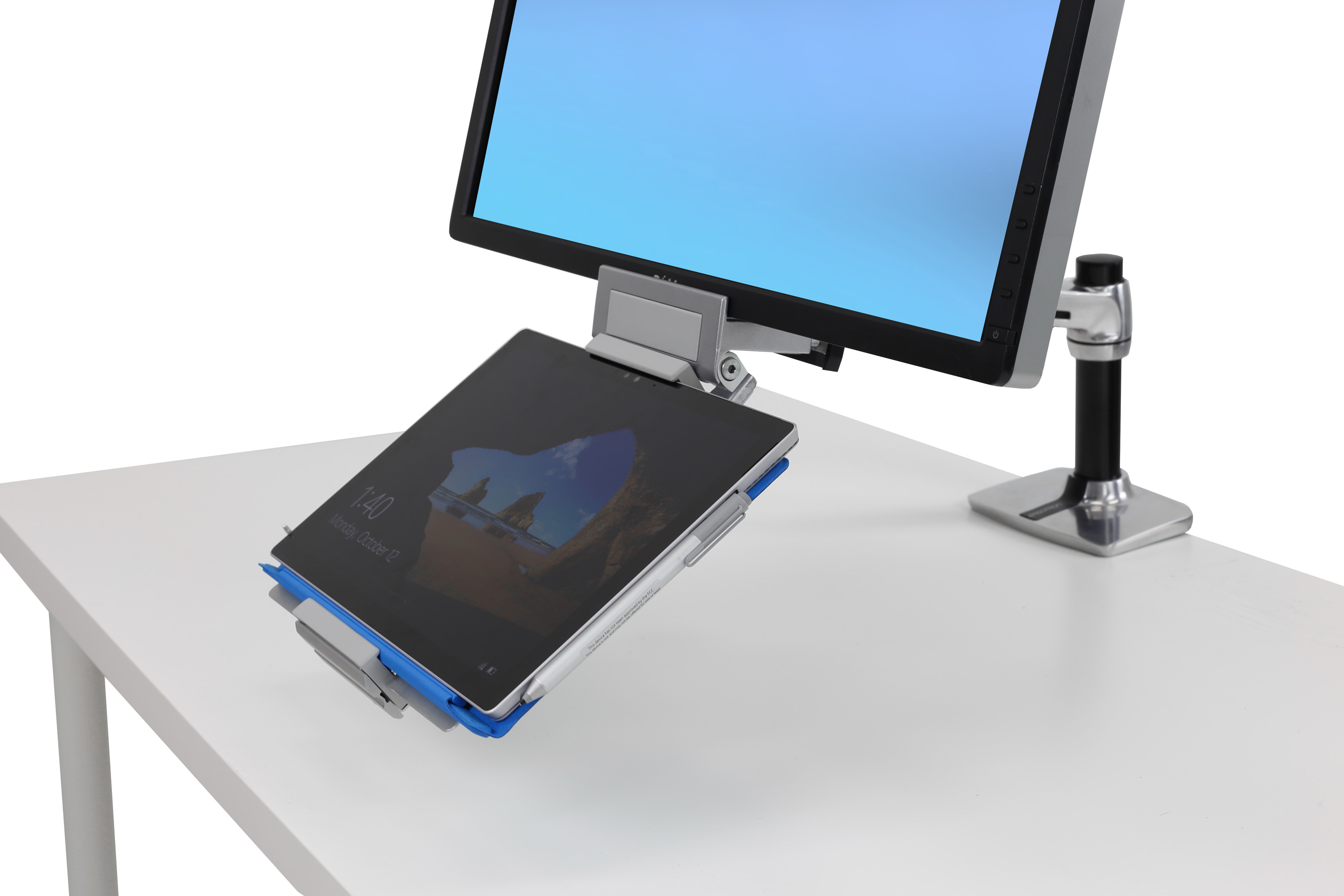 motion arm loctek products stand mounts laptop for in spring gas dual desk monitor full